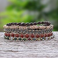 Gemstone beaded macrame bracelets, 'Simply Splendid' (set of 5) - Beaded Gemstone Macrame Bracelets (Set of 5)