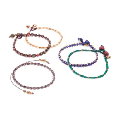 Gemstone beaded macrame bracelets, 'Simply Chill' (set of 5) - Hand-Knotted Gemstone Macrame Bracelets (Set of 5)