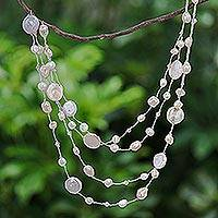 Cultured pearl beaded necklace, 'Glowing Coins in Peach' - Cultured Freshwater Pearl and Glass Beaded Necklace