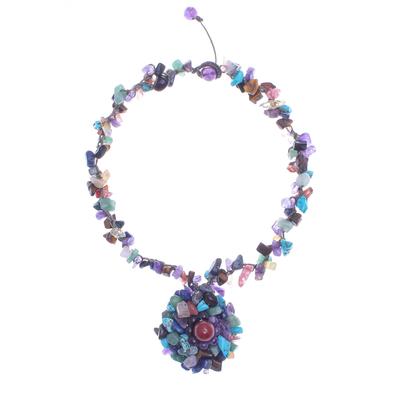 Amethyst and Lapis Lazuli Macrame Pendant Necklace