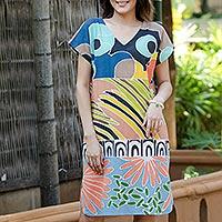 Cotton batik shift dress, 'Summer Air' - Artisan Crafted Cotton Batik Shift Dress