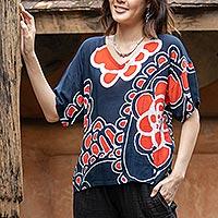 Cotton batik blouse, 'Relaxed Mood' - Cotton Batik Floral-Motif Blouse
