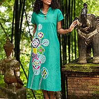 Cotton batik sheath dress, 'Lovely Jade' - Hand Made Cotton Batik Cheongsam Dress