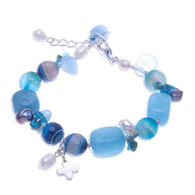 Aquamarine and Cultured Pearl Beaded Charm Bracelet