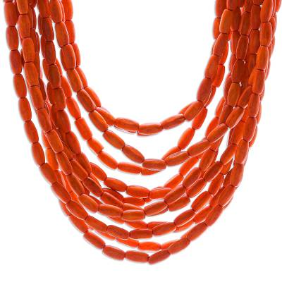 Wood beaded necklace, 'Glorious You in Orange' - Hand Crafted Beaded Wood Necklace from Thailand