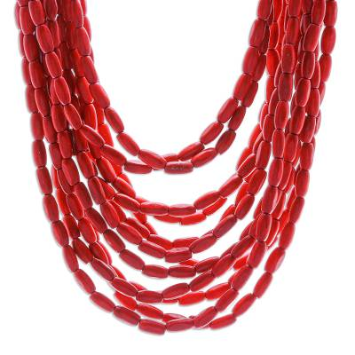 Wood beaded necklace, 'Glorious You in Red' - Hand Made Beaded Wood Multi-Strand Necklace