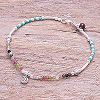 Tourmaline and garnet charm bracelet, 'Daisy Petals' - Tourmaline and Garnet Beaded Charm Bracelet