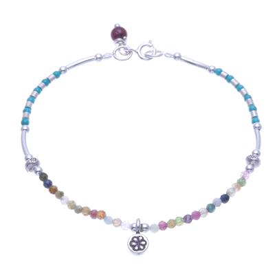 Tourmaline and Garnet Beaded Charm Bracelet