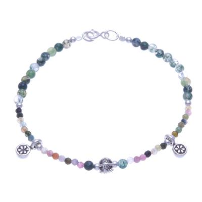 Tourmaline and Agate Beaded Charm Bracelet