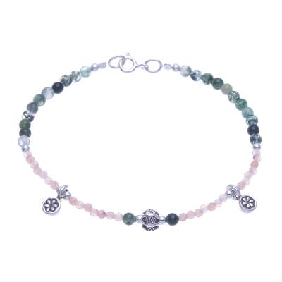 Sunstone and Agate Beaded Charm Bracelet