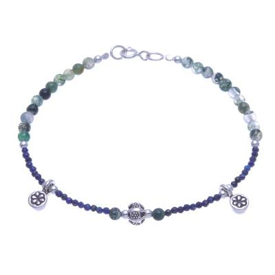 Lapis Lazuli and Agate Beaded Charm Bracelet