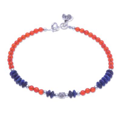 Lapis Lazuli and Carnelian Beaded Charm Bracelet