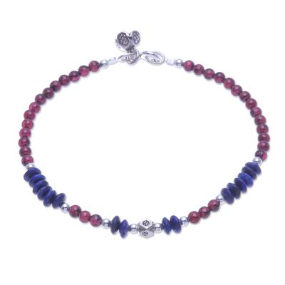 Lapis lazuli and garnet charm bracelet, 'Bright Mind in Red' - Lapis Lazuli and Garnet Beaded Charm Bracelet