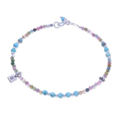 Tourmaline charm bracelet, 'Candy Sky' - Tourmaline and Karen Silver Charm Bracelet
