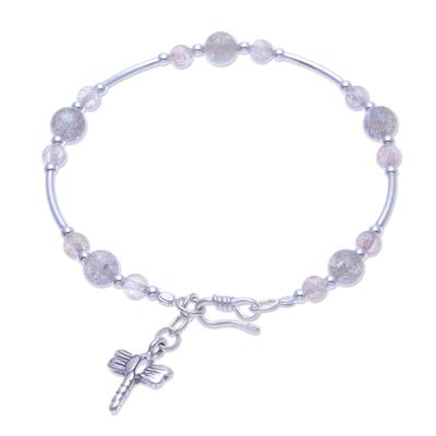 Labradorite charm bracelet, 'Mystic Wings' - Labradorite and Karen Silver Dragonfly Charm Bracelet