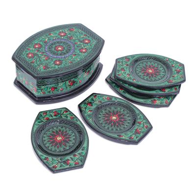 Handmade Lacquerware Mango Wood Coasters (Set of 5)