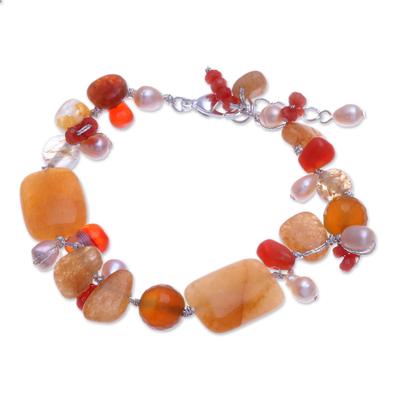 Aventurine and Freshwater Pearl Beaded Bracelet
