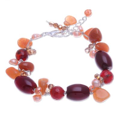 Carnelian and Freshwater Pearl Beaded Bracelet