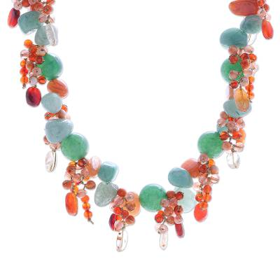 Handcrafted Aventurine and Chalcedony Beaded Necklace