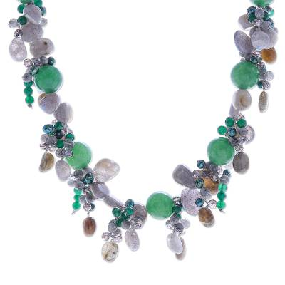 Thai Labradorite and Chalcedony Beaded Necklace