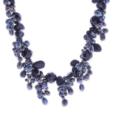 Handmade Agate and Cultured Pearl Beaded Necklace