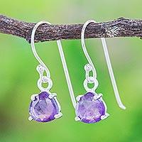 Amethyst dangle earrings, 'Free Love in Purple' - Amethyst and Sterling Silver Dangle Earrings