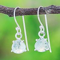 Prehnite dangle earrings, 'Free Love in Ice Blue' - Prehnite and Sterling Silver Dangle Earrings