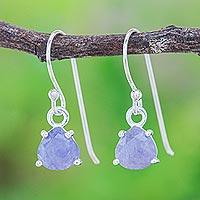 Tanzanite dangle earrings, 'Free Love in Indigo' - Tanzanite and Sterling Silver Dangle Earrings