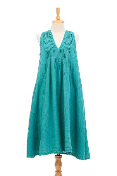 Sleeveless Cotton A-Line Dress from Thailand