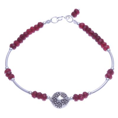 Red Quartz and Sterling Silver Pendant Bracelet