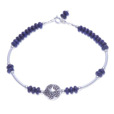 Lapis Lazuli and Sterling Silver Pendant Bracelet
