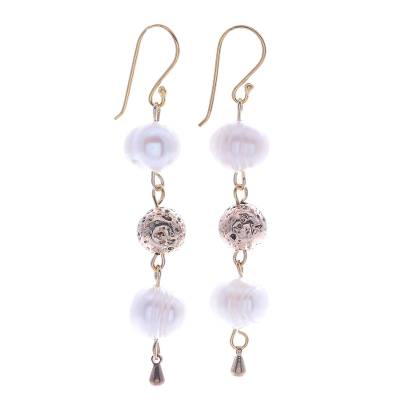 Gold-plated cultured pearl dangle earrings, 'Golden Drizzle' - Gold-Plated Cultured Pearl Dangle Earrings