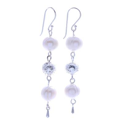 Sterling Silver and Cultured Pearl Dangle Earrings