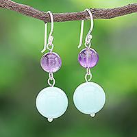 Amethyst and quartz dangle earrings, 'Fancy Candies' - Handcrafted Amethyst and Quartz Dangle Earrings