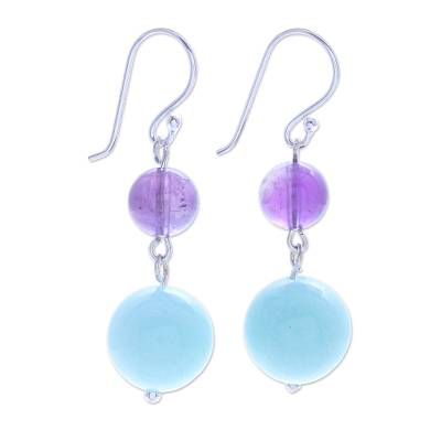 Handcrafted Amethyst and Quartz Dangle Earrings