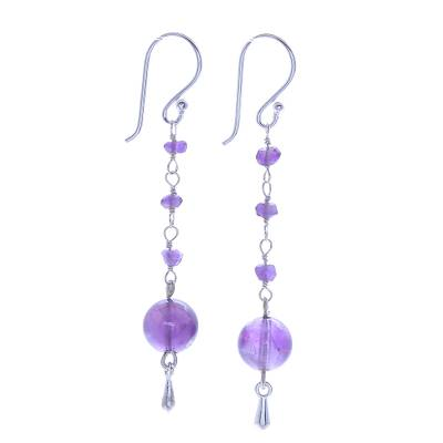 Amethyst dangle earrings, 'Pretty in Purple' - Amethyst and Sterling Silver Dangle Earrings