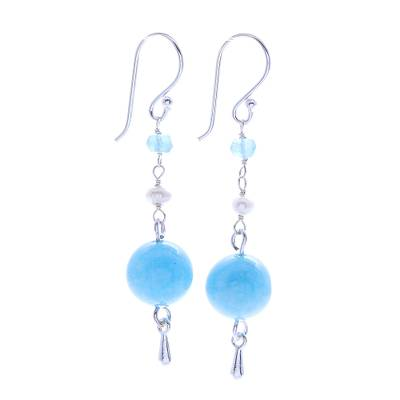 Handmade Aquamarine and Quartz Dangle Earrings