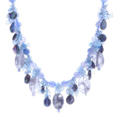 Thai Chalcedony and Aquamarine Beaded Necklace