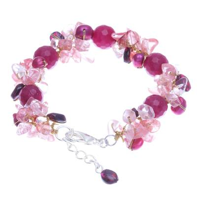 Garnet and Cultured Freshwater Pearl Beaded Bracelet