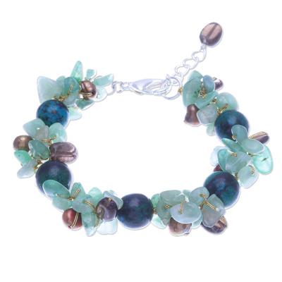 Smoky Quartz and Cultured Pearl Beaded Bracelet
