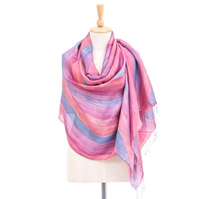Hand-Painted Striped Silk Shawl