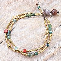 Agate and jasper beaded bracelet, 'Natural You in Moss' - Hand Made Jasper and Agate Beaded Bracelet