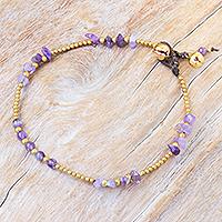 Amethyst beaded anklet, 'Night Walk in Purple'