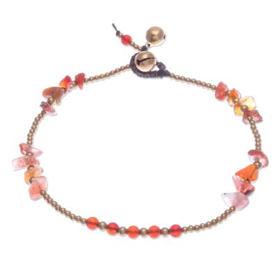 Carnelian beaded anklet, 'Night Walk in Orange' - Carnelian and Brass Bell Beaded Anklet