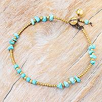 Calcite beaded Anklet, 'Night Walk in Teal'