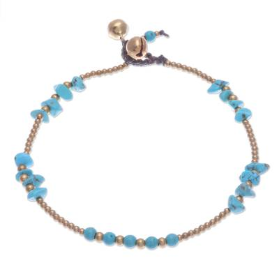 Calcite and Brass Bell Beaded Anklet