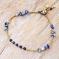 Lapis lazuli beaded anklet, 'Night Walk in Blue' - Lapis Lazuli and Brass Bell Beaded Anklet