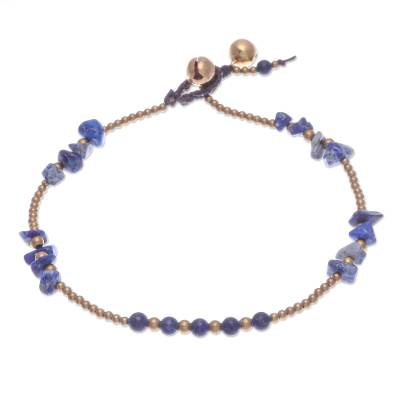 Lapis Lazuli and Brass Bell Beaded Anklet