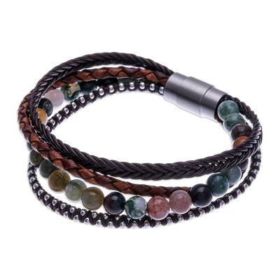 Unisex Agate and Leather Beaded Bracelet