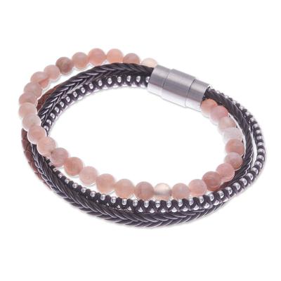 Handmade Leather and Moonstone Beaded Bracelet